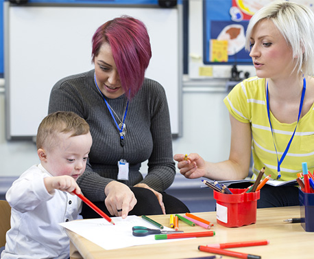 Two teachers interacting with a child with learning difficulties
