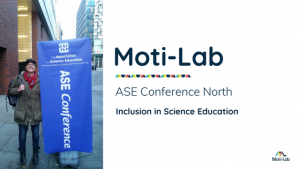 Claire Jeavons of Moti-Lab waits for the Association for Science Education conference on inclusion to start