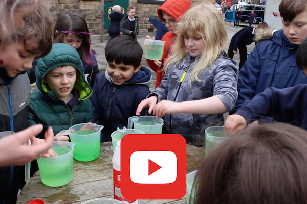 KS2 children mixing slime as part of a science experiment Science Workshop Slime Time